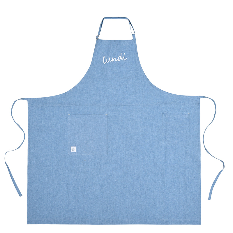 Lundi_pure cotton long apron _ Sky blue [ARC1369]
