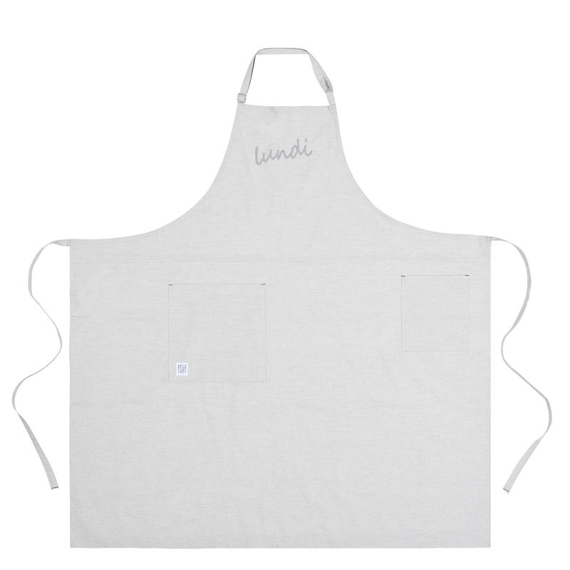 Lundi_pure cotton long apron _ Light gray [ARC1365]